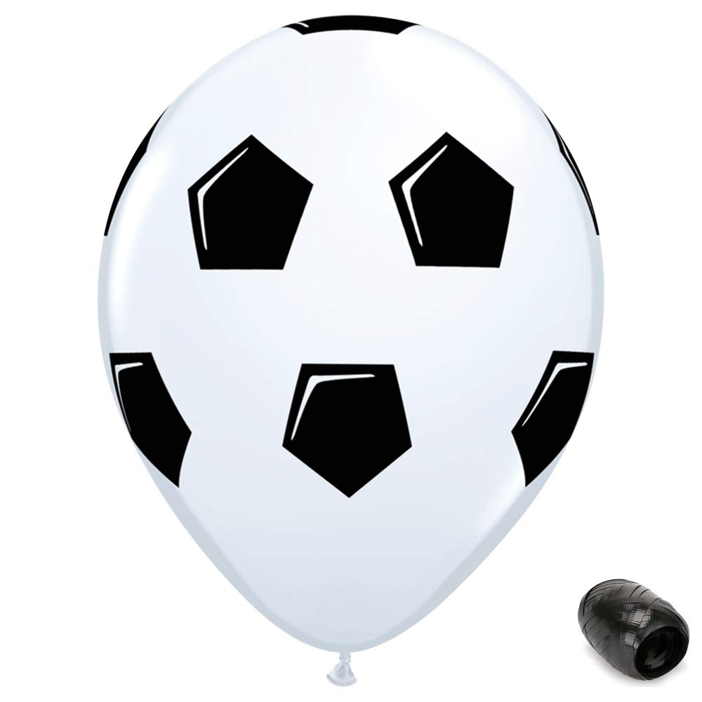10 Pack 11 Soccer Ball Latex Balloons with Matching Ribbons Generic