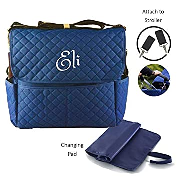 Personalized Quilted Diaper Bag Baby Tote Bags Premium 3 In 1 Diaper Bag Set With Changing Pad