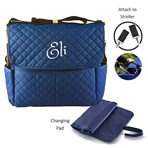 Personalized Large Diaper Bag Knapsack/Tote Bag/Backpack/Messenger Bag/Shoulder Bag -Custom Monogram Embroidered for Infant/Baby Bag/Baby Gift (Blue Shoulder Bag)