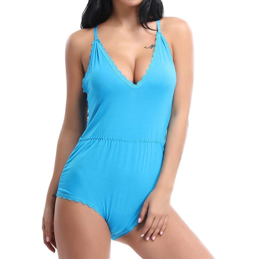 Women Lace Patchwork Elastic Sling V Neck Criss Cross Pure Color Lingerie Sleepwear Siamese Babydoll Nightgown Bodysuit Blue