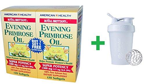 (American Health, Royal Brittany, Evening Primrose Oil, 1300 mg, 2 Bottles, 120 Softgels Each + Sundesa, BlenderBottle, Classic With Loop, White, 20 oz)