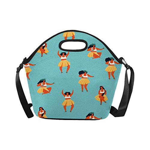 (InterestPrint Cute Hawaii Dance Girls Playing Ukulele and Dancing Hula Lunch Bag Waterproof Neoprene Gourmet Insulating Lunch Tote Portable Lunchbox Handbag with Shoulder Strap)