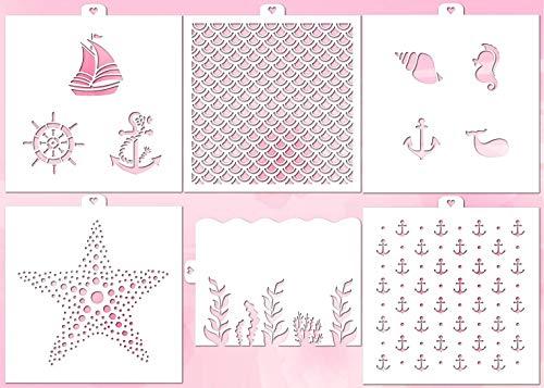 (Cookie and Craft Stencil Set Sea, 6 pcs: scales, anchor, algae, waves, marine, starfish )