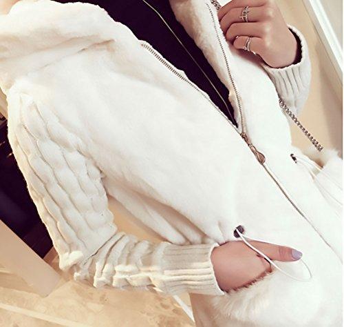 Larga De Más Suéter Marca Jerseys Grandes Chicas Mujer Blanco Punto Abrigos Elegantes Capucha Tallas Invierno Grueso Manga Con Hoodie Cárdigans De Pelo Chaquetas Abiertas Casual 6x0nF4v