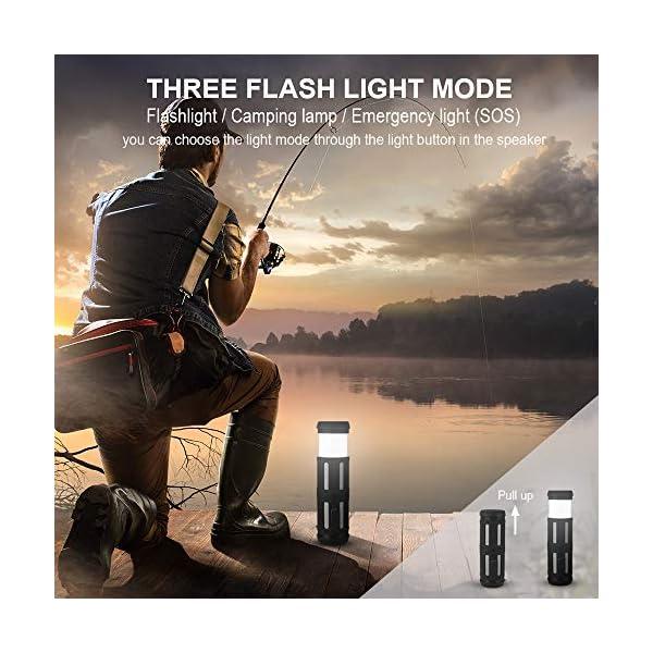 Enceinte Bluetooth Portable, avec Lampe Torche LED, 5200mAh Powerbank, 30H en Lecture, Basses Puissantes, IPX67 Waterproof, Mains Libres Téléphone, Enceintes Bluetooth sans Fil pour Camping, Cyclisme 7