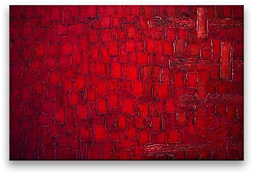 Oil Painting Abstract Modern Art on Canvas Handmade Red Squares (36x48 inches) by Matthew's Art Gallery