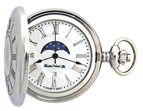 Dueber Moon Phase Pocket Watch with Swiss Movement & Mother of Pearl Dial by Dueber Watch Co