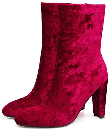 Mujeres cremallera High con Botines Easemax Chunky dedo pie Sexy altos Faux Suede Rojo lateral tacón puntiagudo del FUwdqw