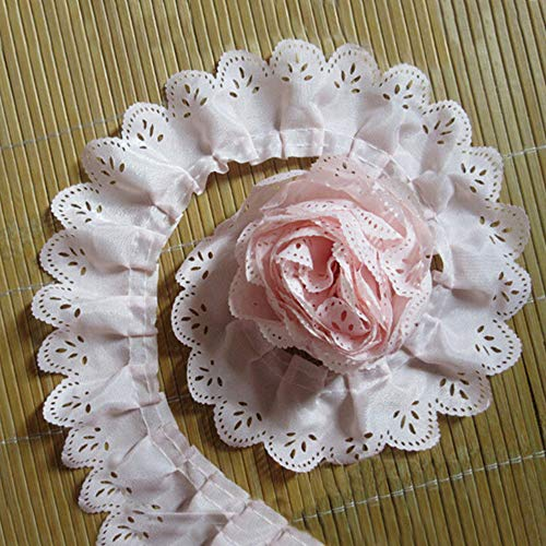 5 Yard Pleated Chiffon Eyelet Lace Edge Gathered Mesh Trim Ribbon 1-1/2