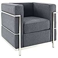 Modway Charles Wool Petite Armchair in Dark Gray