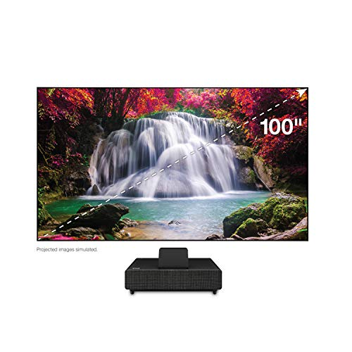 "100"" Epson EpiqVision Ultra LS500 Short Throw Laser Projection TV (1) with 4K PRO-UHD (2) and HDR (3) - Black"
