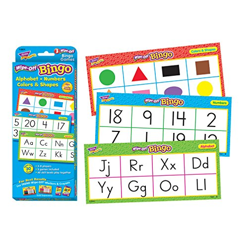 Trend Enterprises Alphabet, Numbers, Colors & Shapes Wipe-Off Bingo Game (28 - Numbers Off