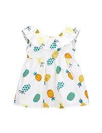 ZEFOTIM Baby Girls Cute Dress,Newborn Toddler Baby Girls Fruit Print Princess Sleeveless Dress Casual Clothes 6-24M