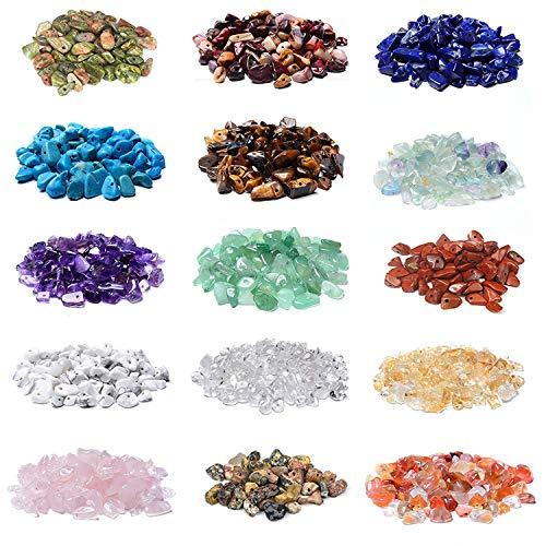 2000 Pcs Chip Gemstone Beads DIY Jewelry Making, Healing Engry Crystals Polishing Crushed Irregular Shaped Beads with…