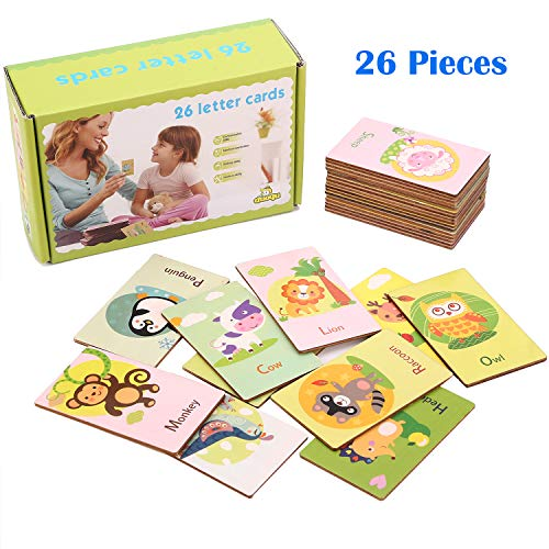Wondertoys 26 Pieces Wooden Alphabet Flash Cards Double Sided Animals ABC Puzzles Preschool Gifts Learning Toys for Boys and Girls