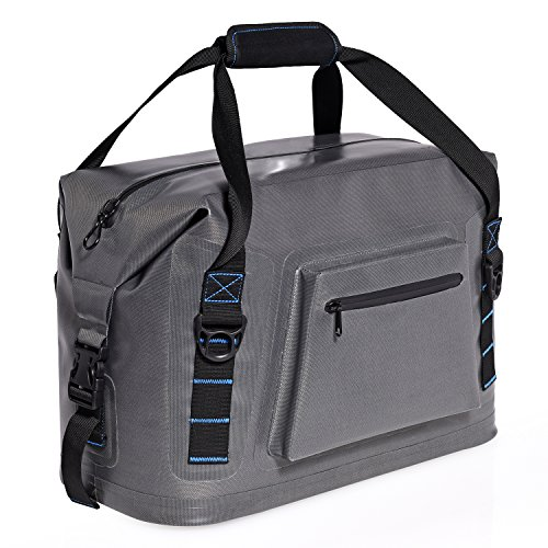 Ivation 36 Can Soft Sided Carry Bag Cooler – Waterproof Heavy Duty TPU Soft Pack Ice Chest Features Welded Seams, Integrated Bottle Opener & Shoulder Strap w/Days of Ice Retention by Ivation