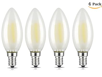 Lyd komb 4-packs regulable en forma de vela bombillas e14 LED regulable blanco suave