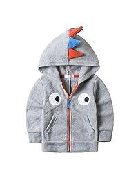Baby Boys Dinosaur Fleece Hoodies Clothes Toddler Zip-up Light Jacket Sweatshirt
