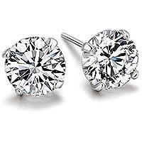 Chryssa Youree Swarovski Elements Zirconia CZ 3-8MM Stud Earrings Mens Womens Jewelry Bridesmaid Groomsmen Gifts (ED-82)