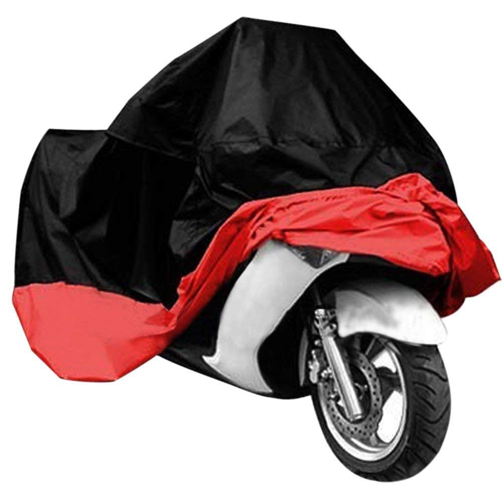 Exlight Motorcycle Cover Universal Protective Outdoor Cover with Storage Bag, Waterproof Dustproof Ultra Violet Protective, Black and Red by Exlight