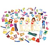 Onshine 63pcs Mix and Match Wooden Magnetic Fashion Models Dress-Up Puzzle Toys Educational Play Toy Set for Children Kids Girls