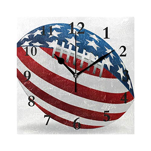 (Personalized Wall Clock,Denver Broncos Non Ticking Silent Square Acrylic Wall Clocks Easy to Read Home/Office/School)
