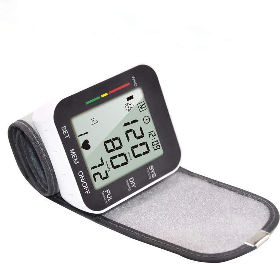 HHHY Tensiómetro Digital de muñeca, tensiómetro de Sangre Completamente automático, medidor de presión Arterial y pulsómetro, Pantalla LCD y función de Memoria, Modo de Doble Usuario 2 x 90, Negro