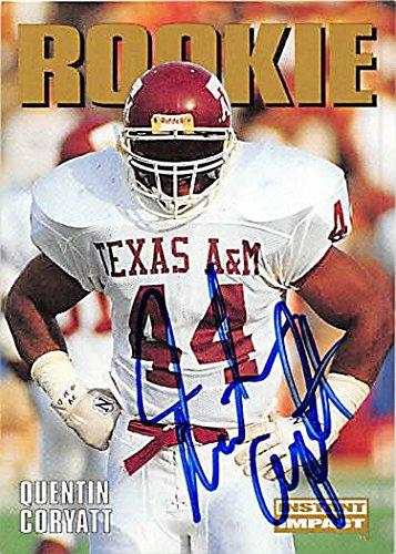 Autograph 124932 Texas A&M 1992 Skybox Rookie No. 326 Quentin Coryatt Autographed Football -