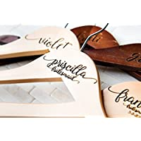 4 Wedding Dress Hangers Personalized Calligraphy Bride Bridesmaid Gift for the Couple Matron Maid of Honor Engraved Wood Quick Ship