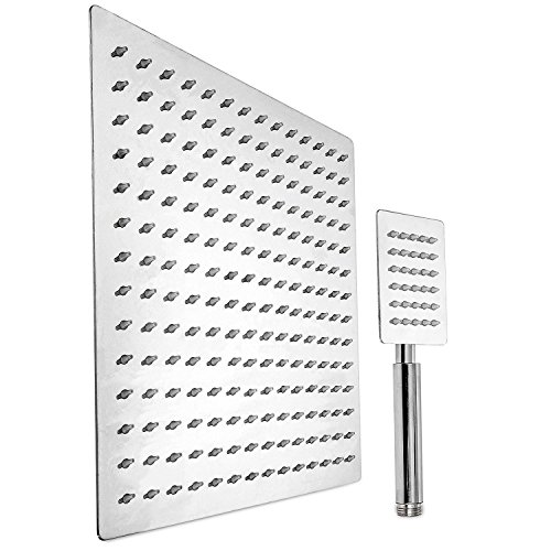Polished Chrome Water - 2-in-1 Shower Head Rainfall with Handheld Shower Combo - 12 Inch Stainless Steel Shower Head - Polished Chrome Finish by QUALwares. High Water Output and Relaxing Shower Experience
