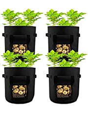 HAHOME 4 Packs Potato Planting Bag, Garden Grow Bags with Handle and Access Flap for Vegetables Carrots Onions Tomatoes Taro Radish Peanut