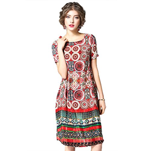 Dresses Silk cotyledon Women`s Line A Dress Printed Elegant Casual wPPR1Eq