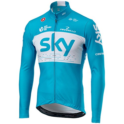 ミシンほかに定期的に自転車ウェア 2018 Team sky 長袖ジャージ  青 Mサイズ Castelli