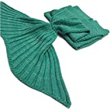 L180cm W80cm Warm and Soft Crochet Mermaid Tail Blanket with Scales Green