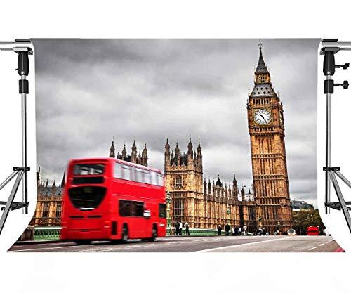 MEETS 7x5ft London Landmark Backdrop Big Ben Backdrop Photo Booth Studio Props Theme Party YouTube Backdrop MT447 ()