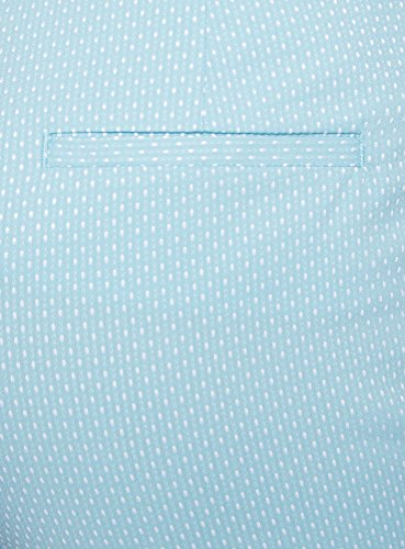 oodji Collection Mujer Pantalones de Jacquard con Cinturón Turquesa (7312D)