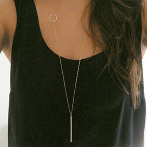(CanB Minimalist Fashion Bar Long Necklaces Chain Pendant Jewelry for Women Girls)