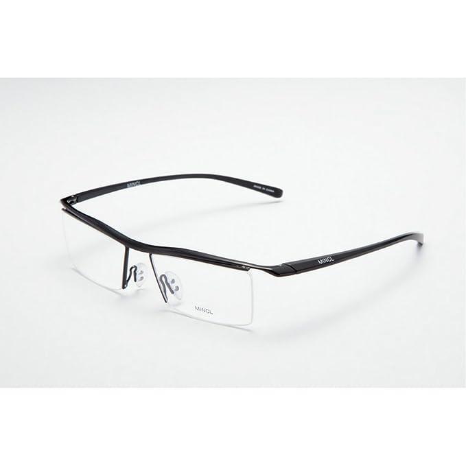 c063e0d2765 MINCL Fashion Rectangular Business Eye Glasses Rimless Orange Frames wish  Case yhl (black-