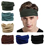 Toes Home 6PCS Outdoor Magic Headband Elastic Seamless Bandana Scarf UV Resistence Sport Headwear for Yoga Hiking Riding Motorcycling Solid Color Series