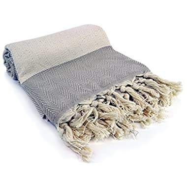 Premium Turkish Peshtemal 100% Cotton; Fouta Towel that is Absorbent, Quick Drying, Ultra Soft, and is a Multi use Blanket (Beige)
