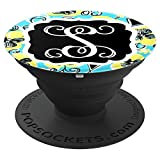 Personalized Pop Socket S Initial Teal Yellow Accessories - PopSockets Grip and Stand for Phones and Tablets