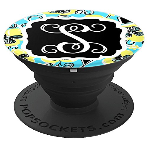 Personalized Pop Socket S Initial Teal Yellow Accessories - PopSockets Grip and Stand for Phones and Tablets by Monogram Phone Grips by Puddle Kickers
