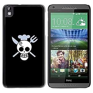 TopCaseStore / la caja del caucho duro de la cubierta de protección de la piel - Funny Skull Chef Death - HTC DESIRE 816