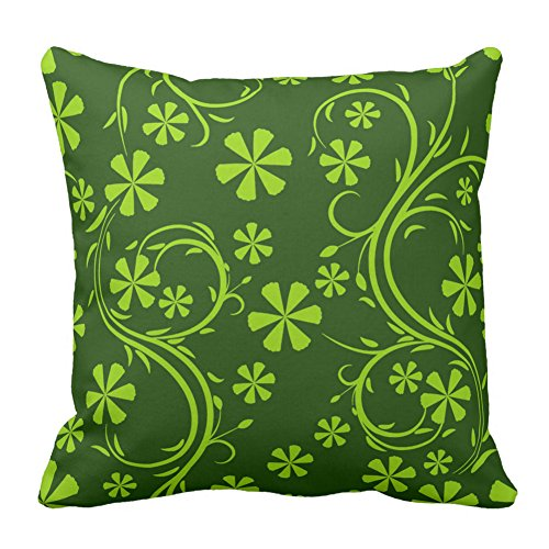 Floral Design Green Two Tone Flower Pattern Zippered Pillow Cover Decorative Cushion Cover Pillowcase Unique Home, 20X20 Inch