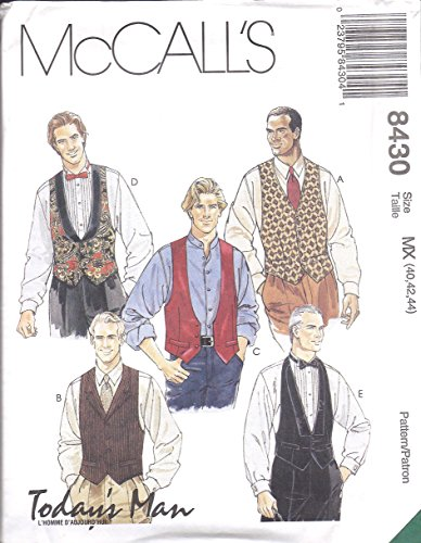 McCall's sewing pattern 8430 Men's lined vests, neck tie, bowtie (38-40-42)