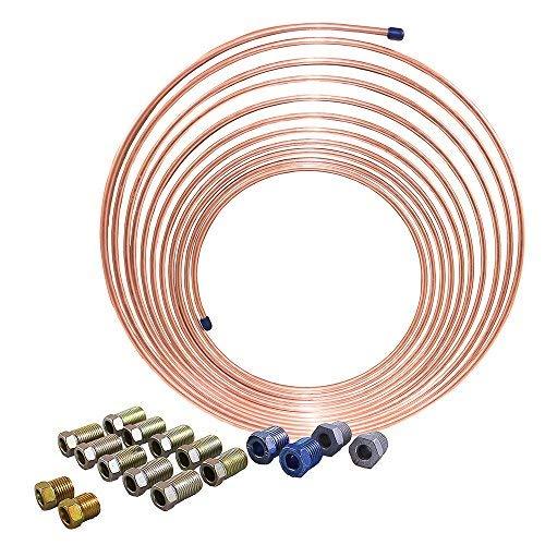 - 25 ft 1/4 in Copper Nickel Brake Line Kit (Universal Size)