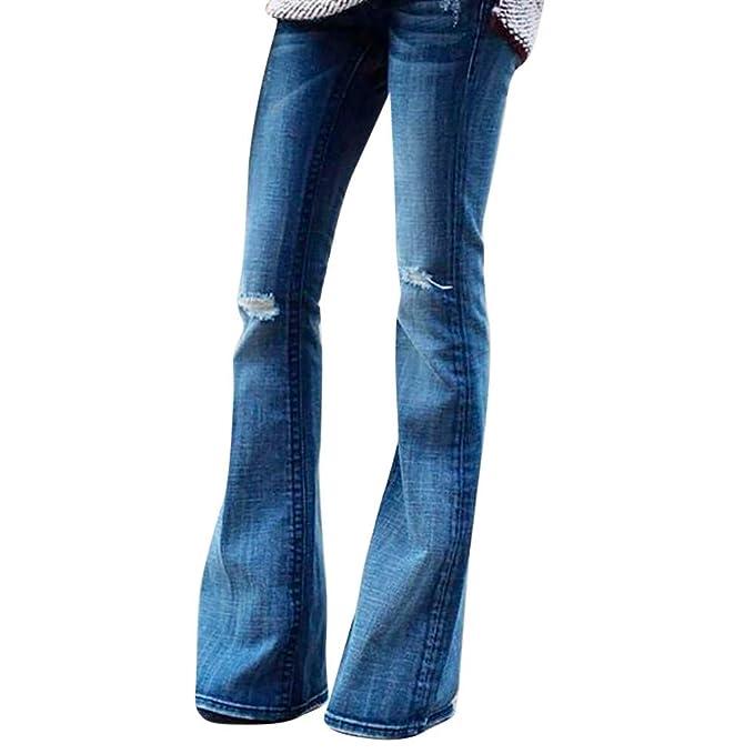 5aad18ae5d54e STRIR Mujer Vaqueros Acampanados Pantalones Largos Elástico Cintura Alta  Retro Flared Jeans  Amazon.es  Ropa y accesorios
