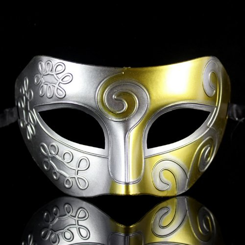 [Roman Gladiator Halloween party masks Gras Masquerade mask silver gold] (Melody Costume)