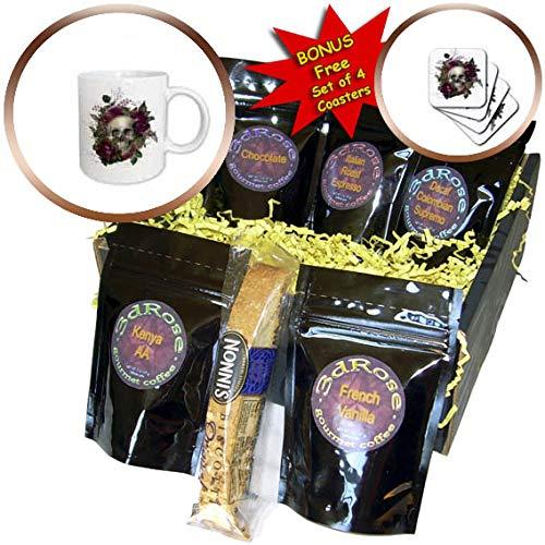 3dRose Anne Marie Baugh - Illustration - Pretty Purple Floral and Skull Illustration - Coffee Gift Basket (cgb_317614_1)
