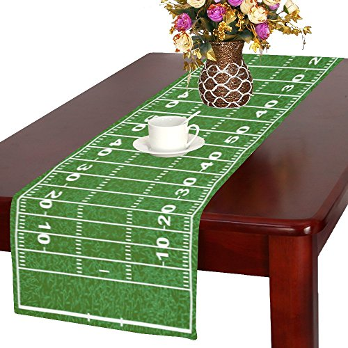 InterestPrint American Football Field Long Table Runner 16 X 72 Inches, Green Sport Field Rectangle Table Runner Cotton Linen Cloth Placemat for Office Kitchen Dining Wedding Party Home (Football Table Runner)